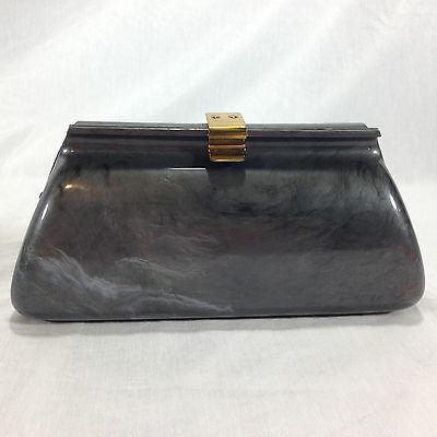 Vintage Lucite Plastic Clutch Purse Marbled Grey 1950's
