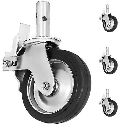 Vevor Scaffold Caster 8 X 2 4 Pcs Black Pu Wheel Foot Brake 1100lbs
