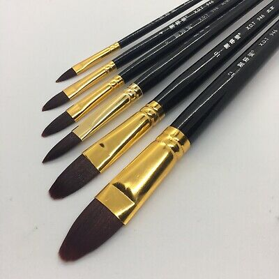 Watercolor Paint Brushes (XDT#946 Filbert Artist Paint Art Brush 6pc Premium Nylon Oil Acrylic)