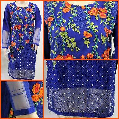 - Royal Blue Pakistani Net Kurta Embroidery, Thread work, Pearls, MEDIUM