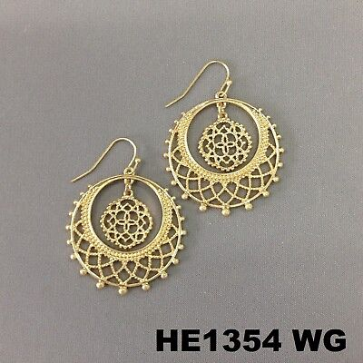 Bohemian Style Filigree Cut Out Round Dangle Hoop Gold Finish Hook Earrings - Gold Filigree Cut Out