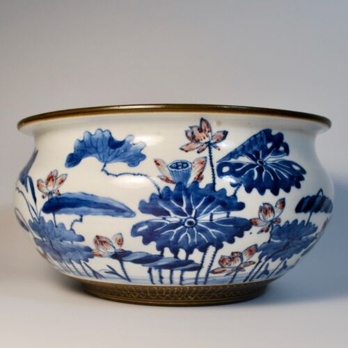 Large Antique Chinese Porcelain Lotus Censer, Qianlong, Underglaze Red and Blue