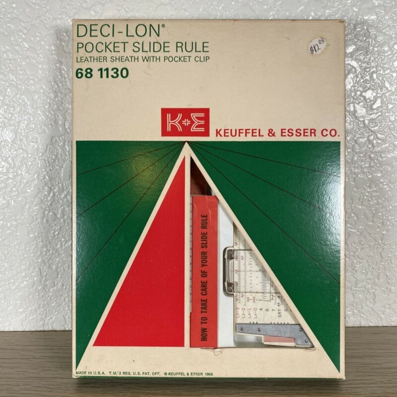 Rare Vintage K & E Deci-lon Pocket Slide Rule, Model 68 1130, Leather, Brand New
