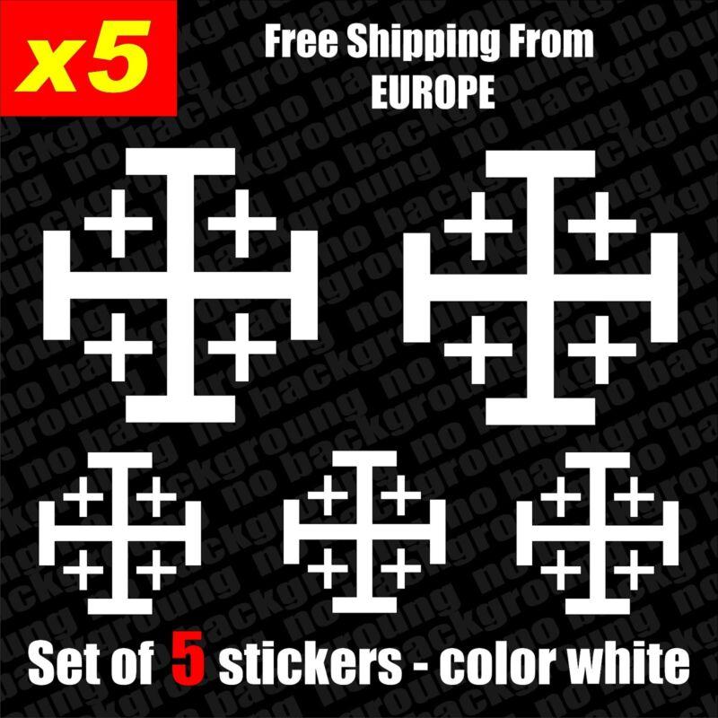 Set of 5 Jerusalem cross Vinyl Decal Sticker Aufkleber Die-Cut Car Laptop Game