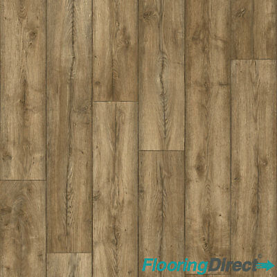 Antique Oak Wood Effect Vinyl Flooring Kitchen Bathroom Lino Cushion