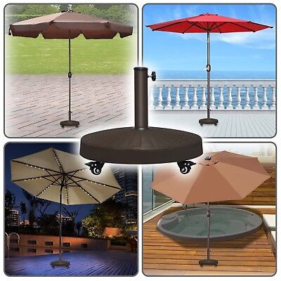 Outdoor Resin Weight Base Patio Umbrella Stand Deck Parasol w Wheels ONLY BASE