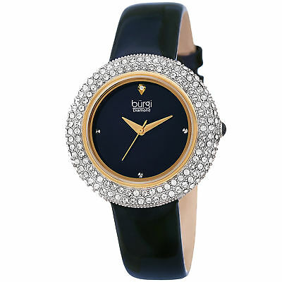Women's Burgi BUR199BU Diamond Marker Swarovski Bezel Blue Leather Strap Watch