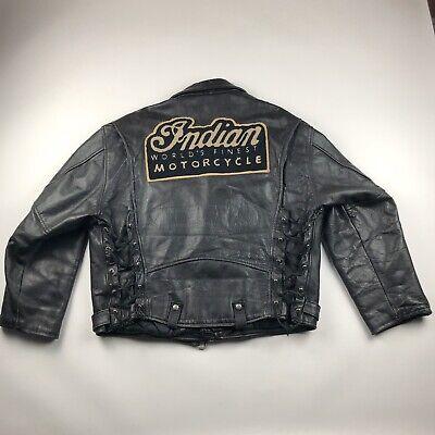 Vintage Indian Motorcycles Big Patch Leather Biker Jacket Black XL Wide L Men's