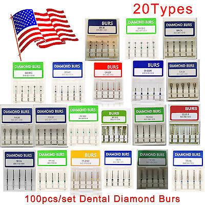 100x Dental Dentist Diamond Bur Bits Drill Fg 1.6mm 20 Types Hot Burr Bohrer Us