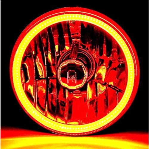 "5-3//4/"" White LED COB SMD Halo Angel Eye Halogen Light Bulb Metal Headlights Pair"