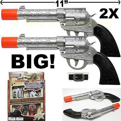 2 TOY COWBOY GUN PISTOL REVOLVER ROBUST AND BIG ADULT KID PLAY SET BELT HOLSTER