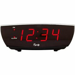 75900 Equity by La Crosse Red LED Digital Alarm Clock with USB Charging Port