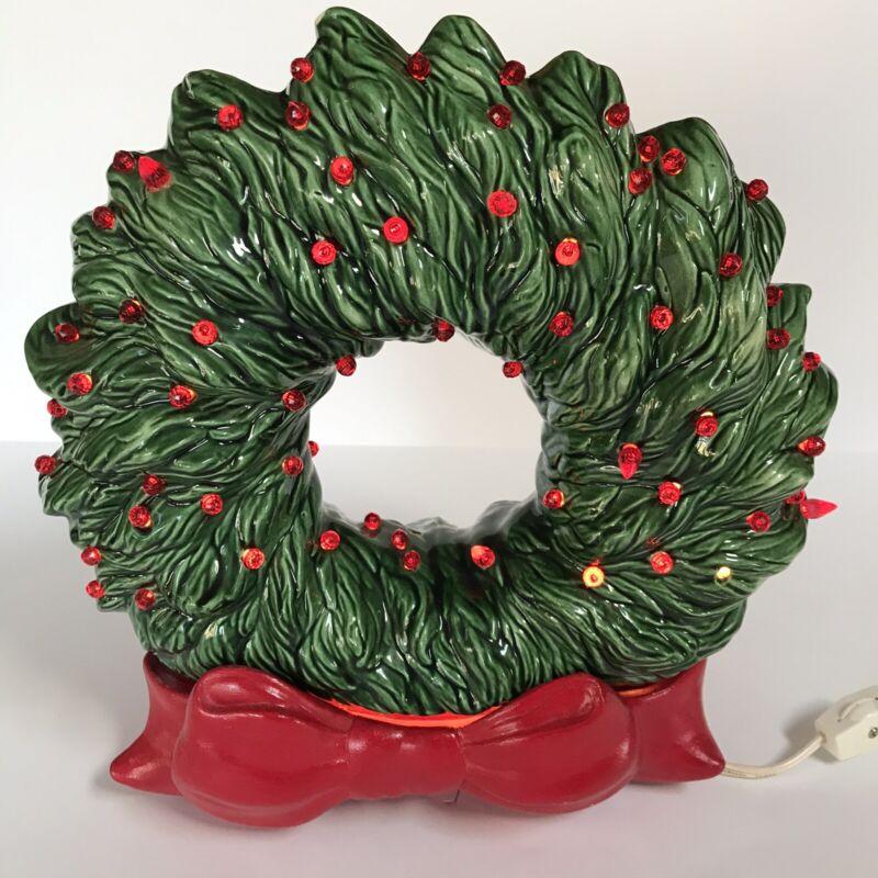 Vintage Ceramic Light Up Christmas Wreath Green Red Bow Base Holiday Decor Xmas