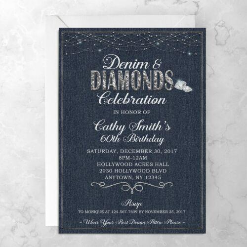 Denim & Diamond Invitation - Good For Any Occasion - Printed Invitations