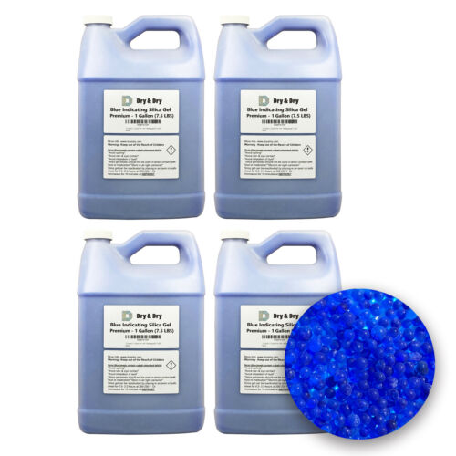 """4 Gallon(30 LBS) """"Dry & Dry"""" Premium Blue Indicating Silica Gel Desiccant Beads"""