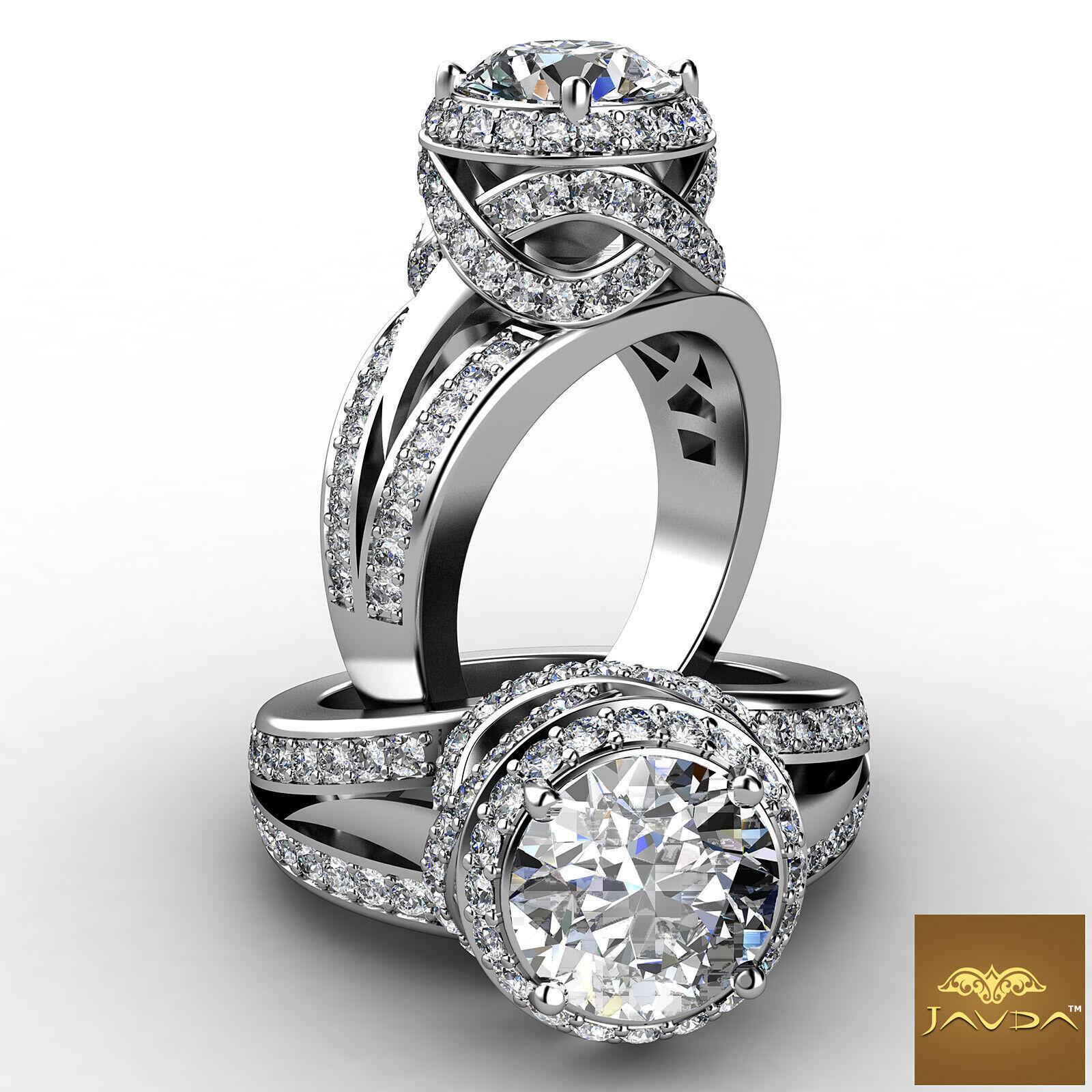 2.3ct Round Diamond Halo Pave Engagement Split Shank Ring GIA F VVS2 Platinum