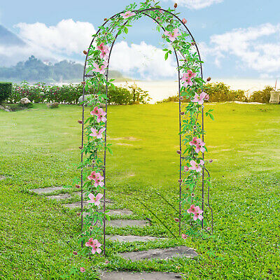 Outsunny Metal Garden Arch Arbour Rose Climbing Archway Plant Wedding Decorative