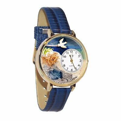 Whimsical Watches Unisex G0710013 Footprints Blue Leather Watch