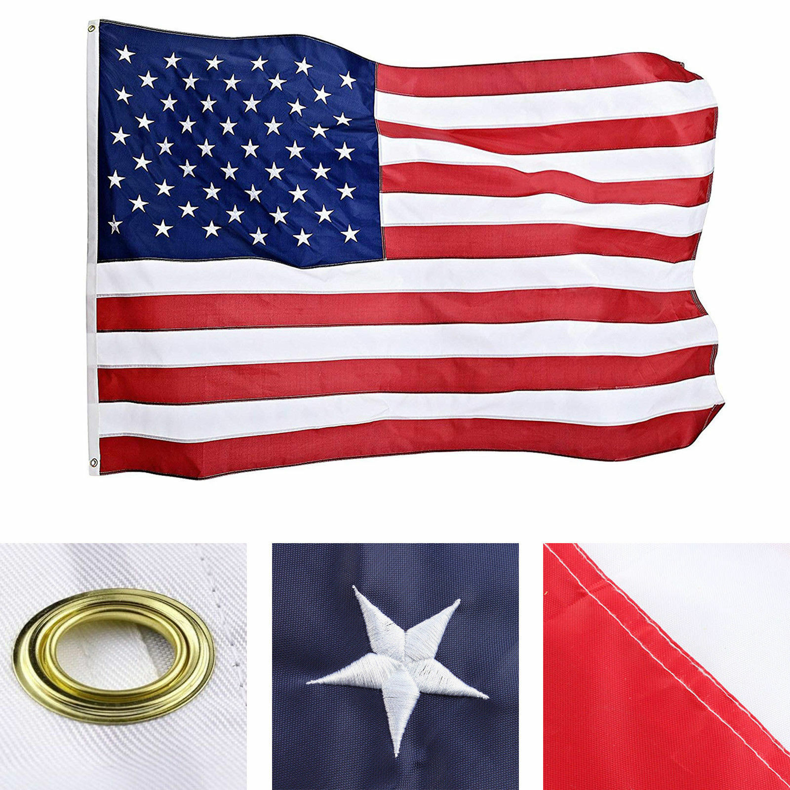 3×5 ft US American Flag Heavy Duty Embroidered Stars Sewn Stripes Grommets Nylon Collectibles