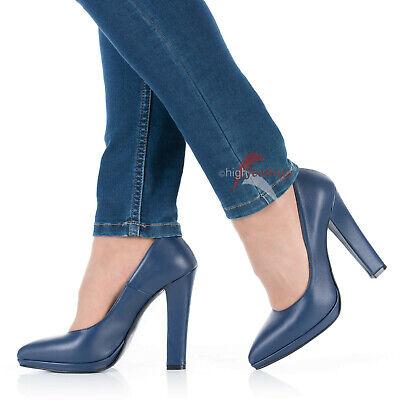 Pu High Heel Pumps (High Heels Pumps Blau 11 -13 cm Absatz 1,5 cm Mini-Plateau Nappaleder EU 36 - 47)