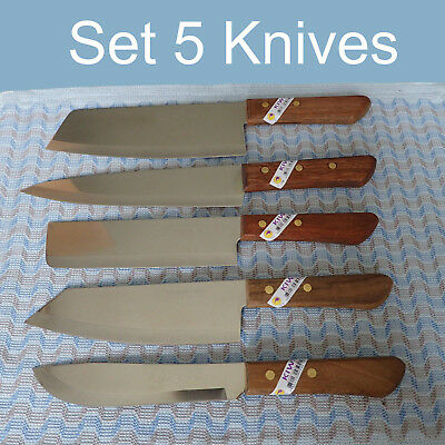Thai Knife KIWI Brand Set 5 Knives Wood Handle Kitchen Cutlery Stainless New ()