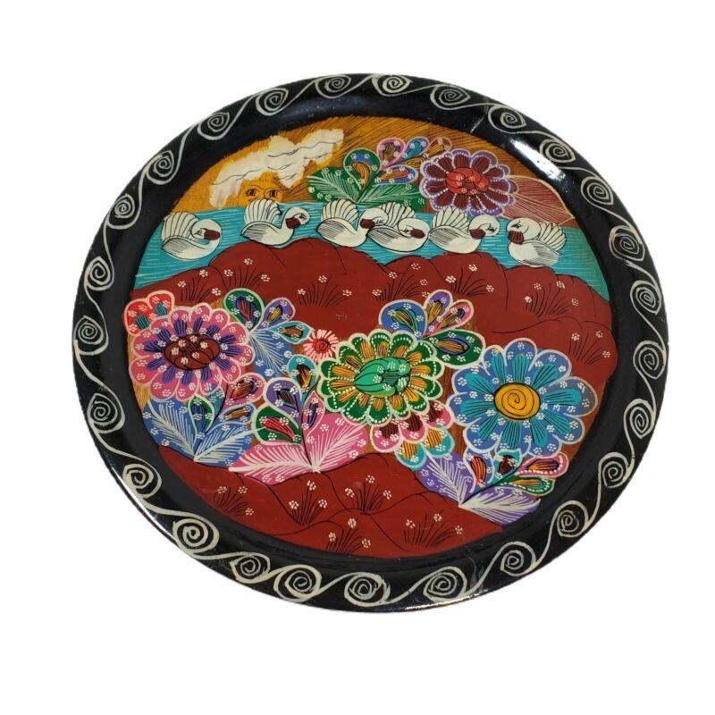 """Batea Lacquer Tole Hand Painted Wood Plate 10"""" Floral Celestial Sun Swans VTG"""
