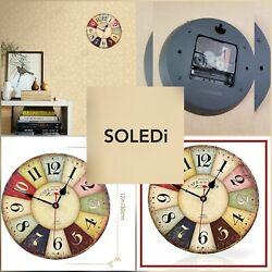 Soledi Wall Clock Decal, Style Wood Wall Clock , European Tour, Paris 12 Inches