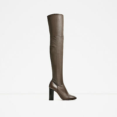 e6bad428fe5 ZARA TAUPE OVER-THE-KNEE HIGH HEEL LEATHER BOOTS UK SIZES 2   5 NEW TAGS