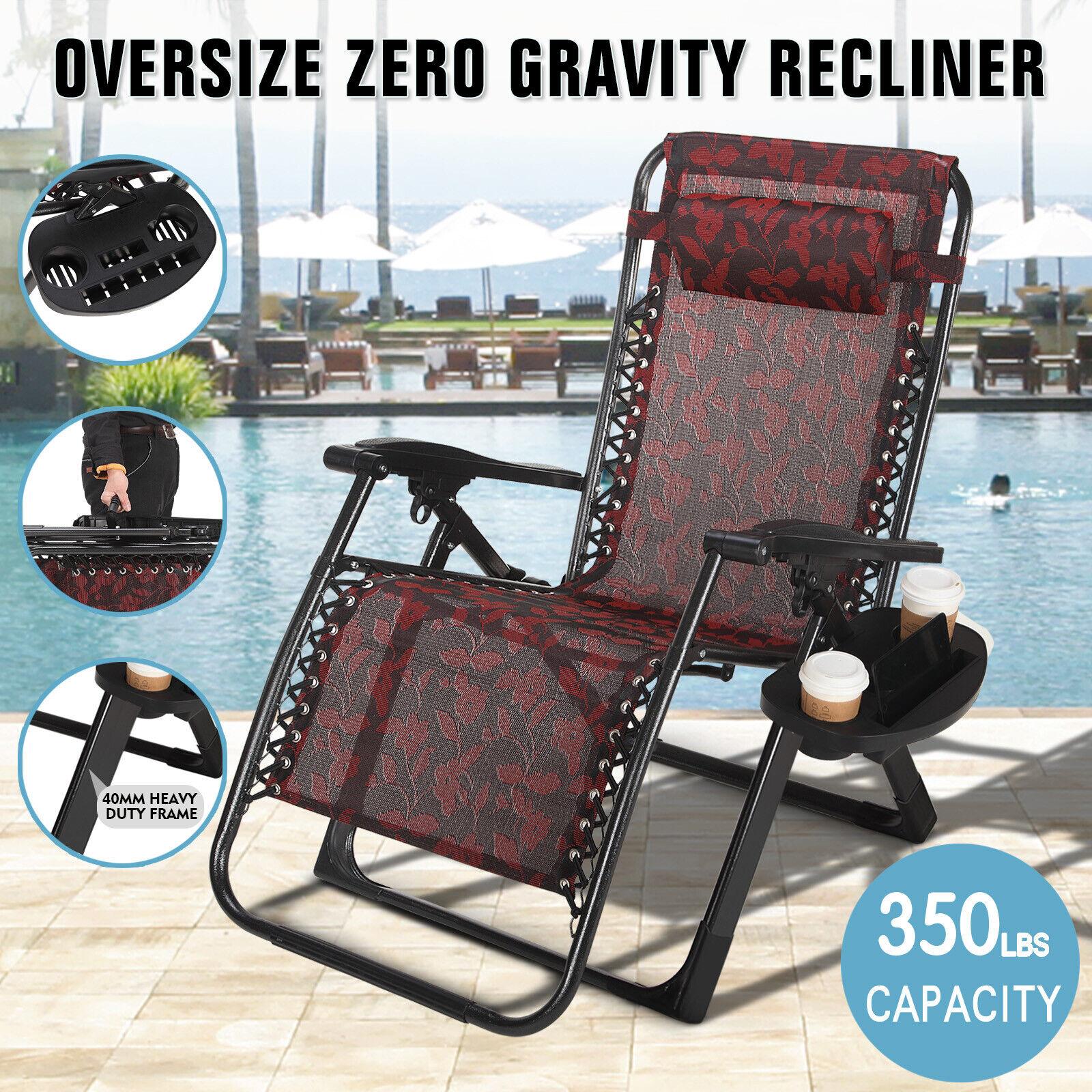 Extra Wide Zero Gravity Chair Patio Lounge Folding Beach Rec