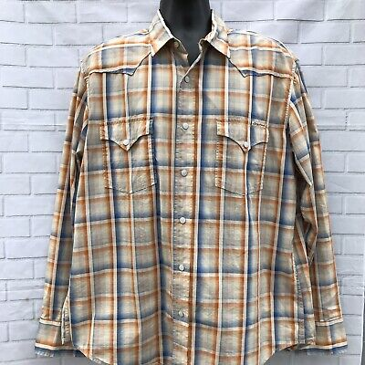 Lucky Brand Mens Plaid Metal Snap Western Shirt Blue Dark Orange Men's Sz XL