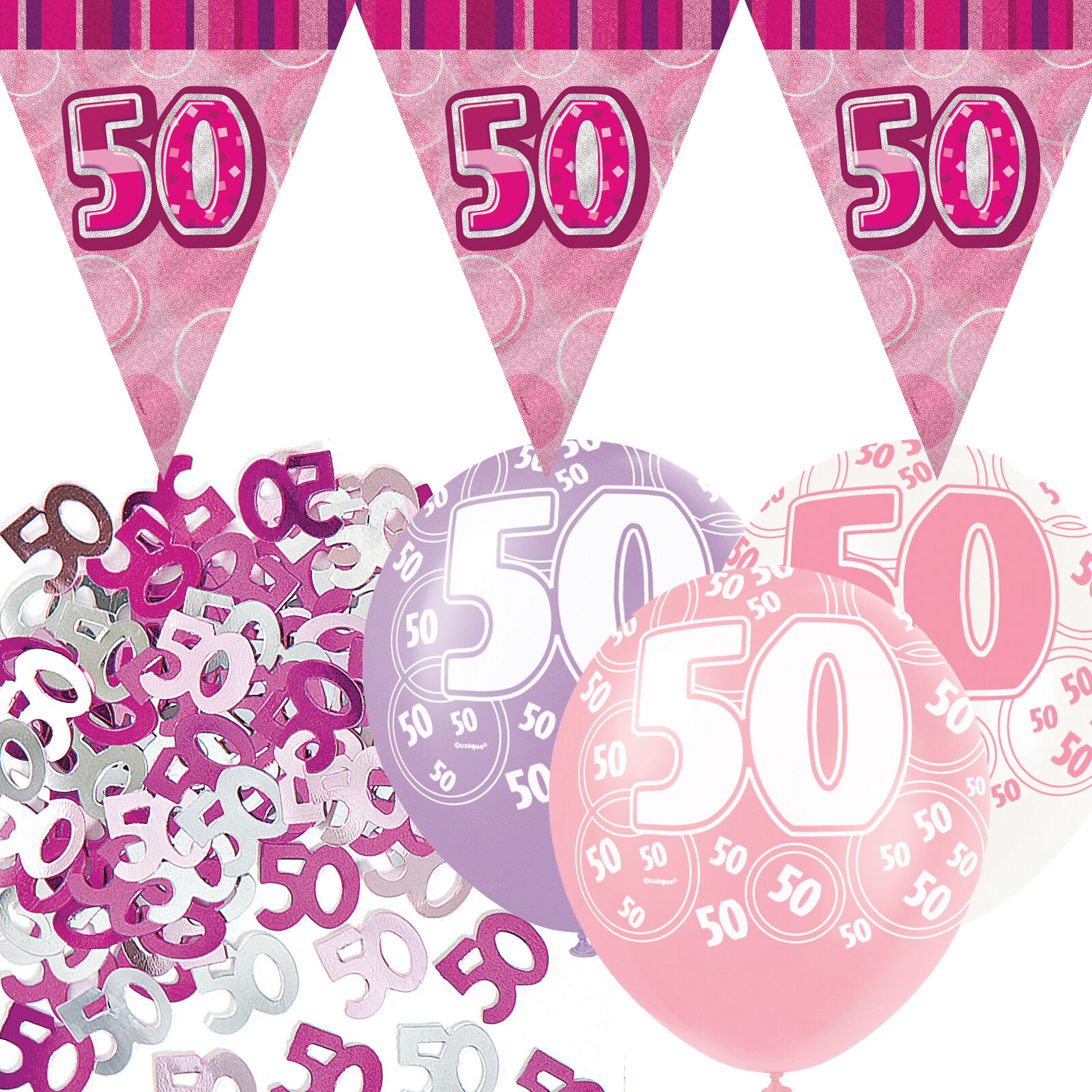 Pink silver girl glitz 50th birthday flag banner party for 50th birthday decoration packs