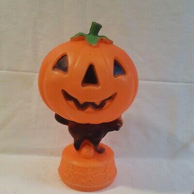 Vintage Jack O LANTERN on Black Cat Skeletons Blow Mold Pumpkin