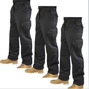 Black Cargo Work Trousers