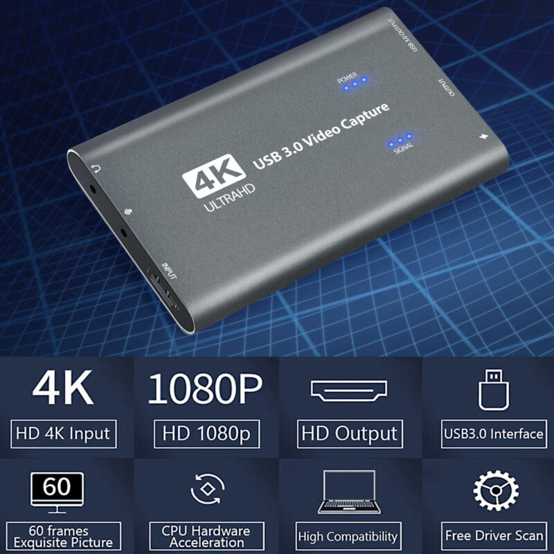 4K 1080p 60fps HDMI to USB 3.0 Video Capture Card Game Recorder Live Streaming