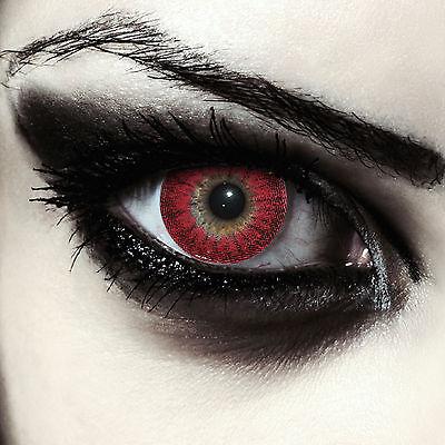 Rote Werwolf Kontaktlinsen für Halloween Vampir Teufel Kostüm
