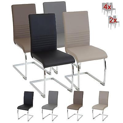 Wohnzimmer Schwingen (Esszimmerstühle BURANO Farbe wählbar Freischwinger Schwing-Stuhl Leder Chrom)