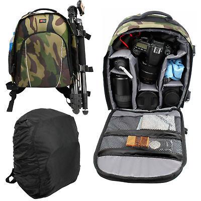 Camouflage SLR Camera Bag with Shoulder Straps, Rain Cover & Removable Interior