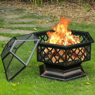 Fire Pit Bowl Wood Burning Fireplace Outdoor Patio Backyard Deck Stove Heater