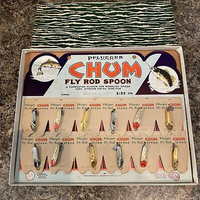 VINTAGE RARE PFLUEGER CHUM FLY ROD SPOON FISHING LURE DISPLAY DEALER BOX WOW