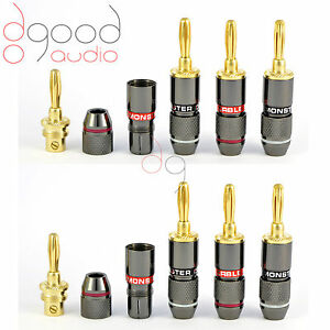 8-x-Monster-Cables-Gold-Plated-4-mm-Banana-Plugs-Speakers-Terminal-Connector