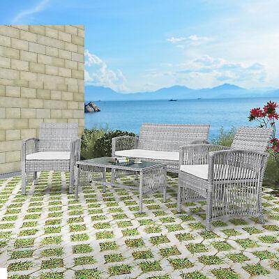 Garden Furniture - 4 Pieces Outdoor Furniture Rattan Chair Table Patio Set Outdoor Sofa Garden US