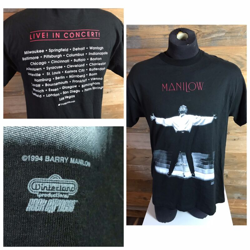 Vintage Barry Manilow 1994 Tour T-shirt Winterland Cities On Back New Adult Lrg