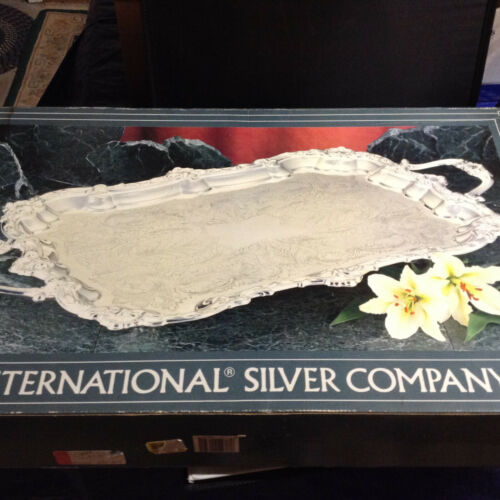 International Large Flute & Shell Footed Silver Plate Waiter Butler Tray