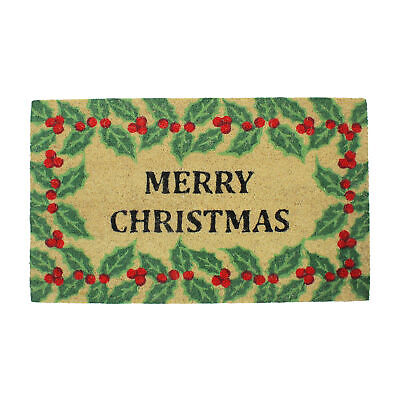 """Northlight Red and Green Holly Berrie """"Merry Christmas"""" Outdoor Mat 30 x 18"""