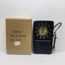 Zeckos Antique Red Rotary Phone Booth Clock Key Cabinet