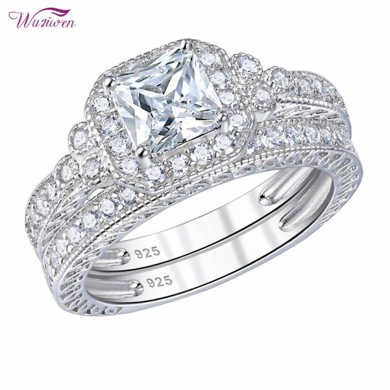 Wuziwen Wedding Engagement Ring Set For Women 925 Sterling Silver White Aaaa Cz