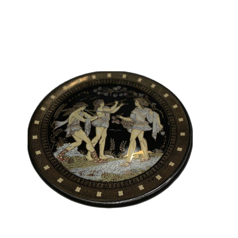 Hand Made Collector Mini Plate Greece 24k Gold / Black Musicians AYAHTAI NYMPH