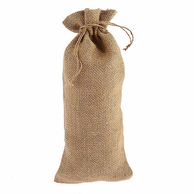 4 x Natural Large for Wine Jute Gift Bags Hessian Drawstring Pouch