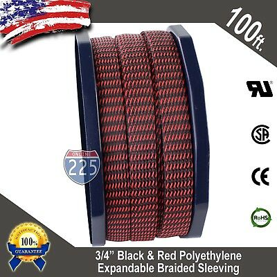 "10 FT 1//2/"" Red Expandable Wire Cable Sleeving Sheathing Braided Loom Tubing US"