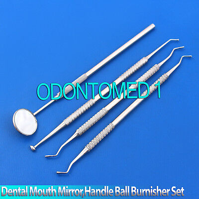 Dental Mouth Mirror Handle With Mirror Ball Burnisher Amalgam Filling Instrument